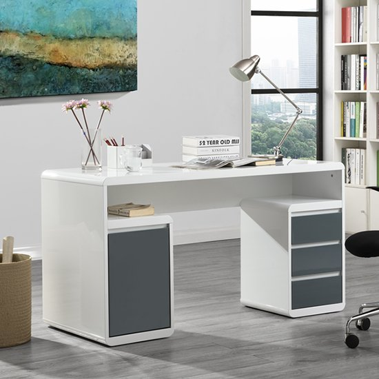 Florentine White Gloss Storage Computer Desk With Grey Drawers_1