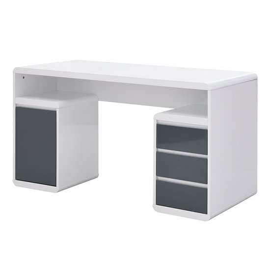 Florentine White Gloss Storage Computer Desk With Grey Drawers_4