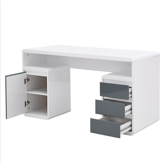 Florentine White Gloss Storage Computer Desk With Grey Drawers_5