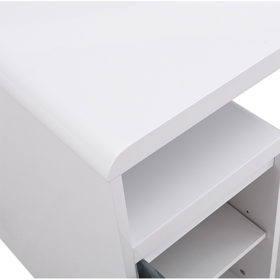 Florentine White Gloss Storage Computer Desk With Grey Drawers_6