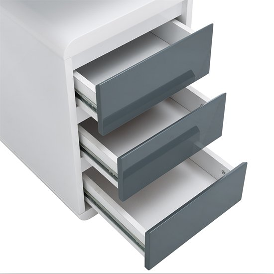 Florentine White Gloss Storage Computer Desk With Grey Drawers_8
