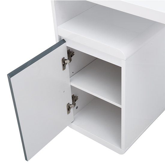 Florentine White Gloss Storage Computer Desk With Grey Drawers_9
