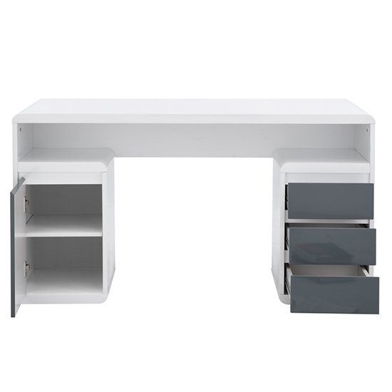 Florentine White Gloss Storage Computer Desk With Grey Drawers_10