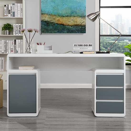 Florentine White Gloss Storage Computer Desk With Grey Drawers_2