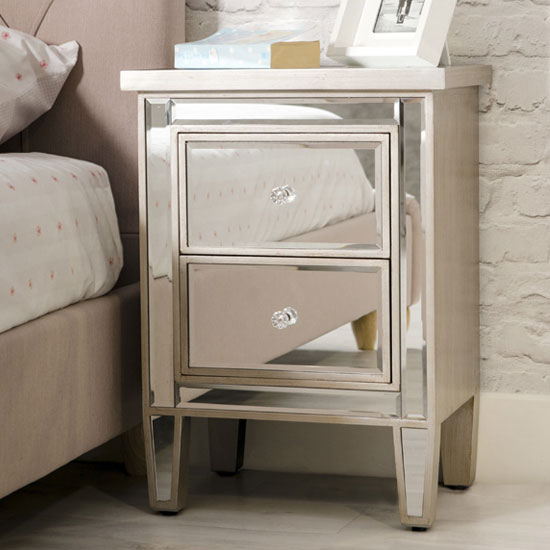 Florentine Wooden Mirrored Bedside Cabinet In Brushed Champagne