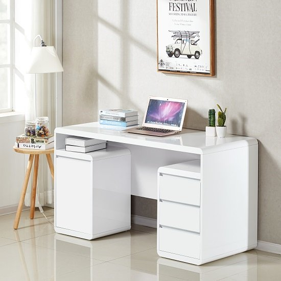 Florentine Computer Desk In White High Gloss With Storage