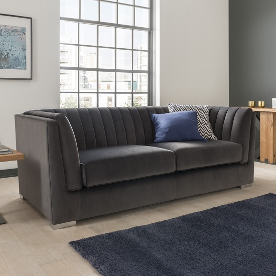 Image of Flores Fabric 2 Seater Sofa In Charcoal Velvet With Chrome Legs