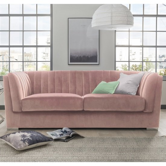 Image of Flores Fabric 2 Seater Sofa In Pink Velvet With Chrome Legs