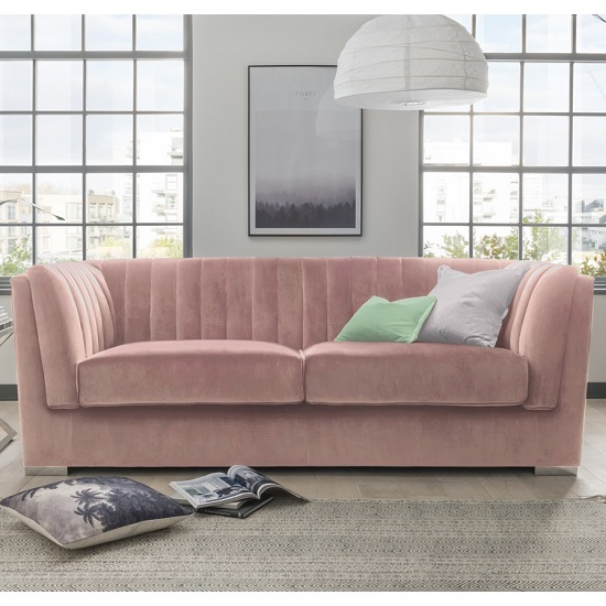 Image of Flores Fabric 3 Seater Sofa In Pink Velvet With Chrome Legs