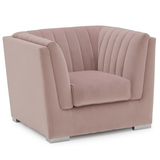 Image of Flores Fabric Sofa Chair In Pink Velvet With Chrome Legs
