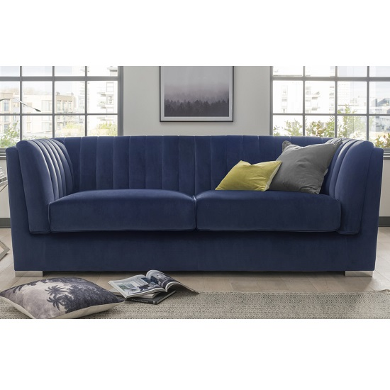 Flores Fabric 3 Seater Sofa In Blue Velvet With Chrome Legs