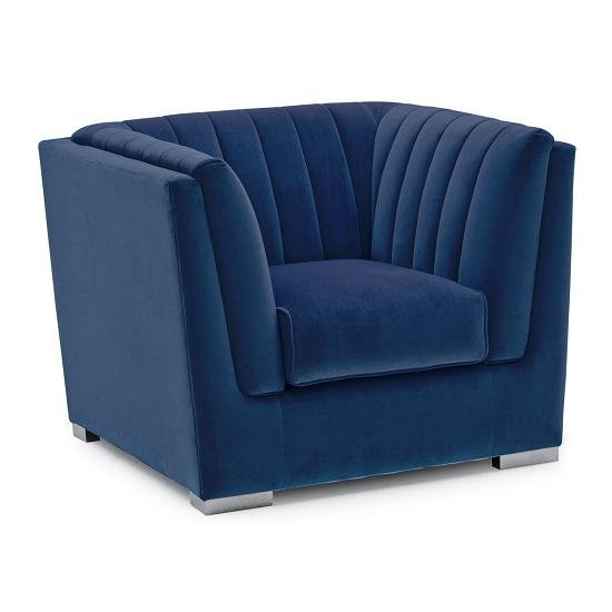 Flores Fabric Sofa Chair In Blue Velvet With Chrome Legs