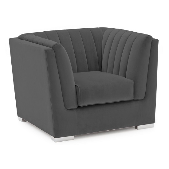 Flores Fabric Sofa Chair In Charcoal Velvet With Chrome Legs