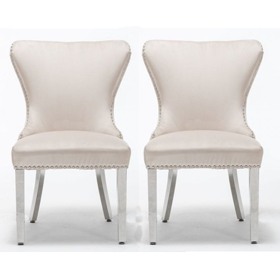 Floret Button Back Cream Fabric Dining Chairs In Pair
