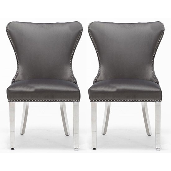 Floret Button Back Dark Grey Fabric Dining Chairs In Pair