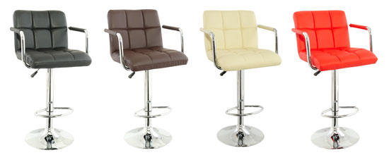Corin Bar Chairs In Brown Faux Leather in A Pair