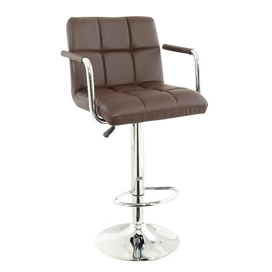 Corin Bar Chair In Brown Faux Leather With Chrome Base