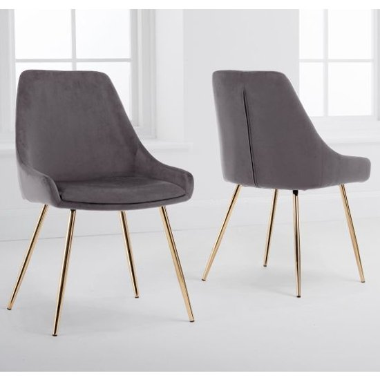 Florid Grey Velvet Dining Chairs In A Pair