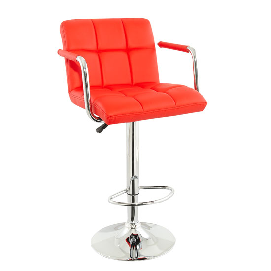 Corin Bar Chair In Red Faux Leather With Chrome Base