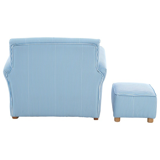 Floride Kids Rocker Chair With Foot Stool In Blue And White_2