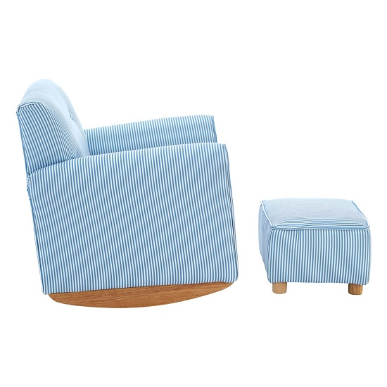 Floride Kids Rocker Chair With Foot Stool In Blue And White_3