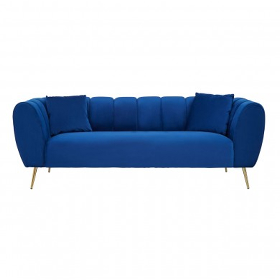 Florina Velvet Upholstered 3 Seater Sofa In Midnight Blue