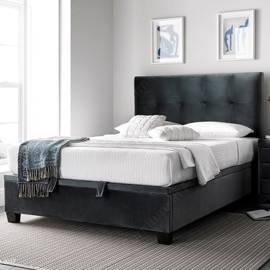 Florus Ottoman Storage Double Bed In Velvet Cliffe Mid Grey
