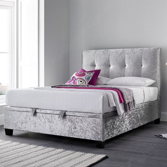 Florus Ottoman Storage Double Bed In Crushed Silver Velvet