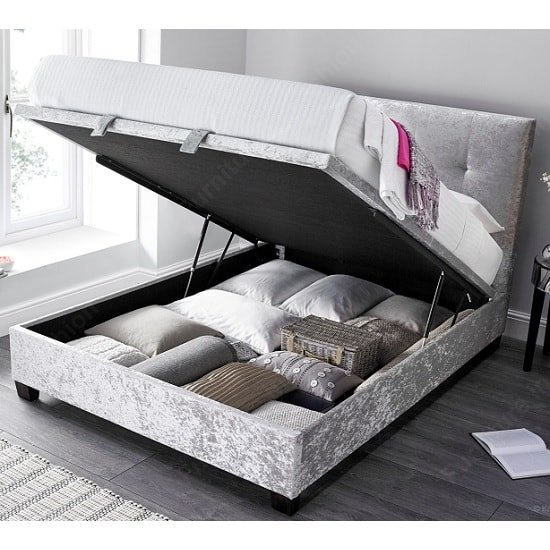 Florus Ottoman Storage Double Bed In Crushed Silver Velvet_2