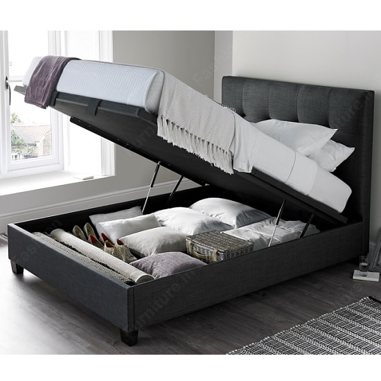Florus Fabric Ottoman Storage King Size Bed In Slate_2