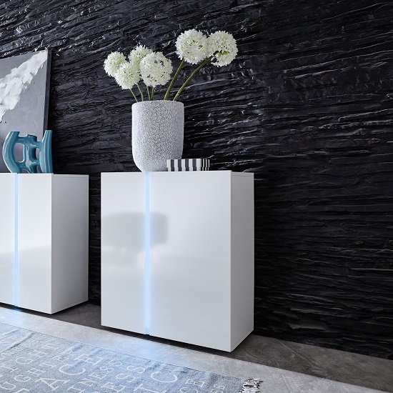 Florus Sideboard In White With Gloss Fronts And LED