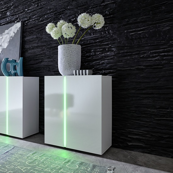 Florus Sideboard In White With Gloss Fronts And LED_2