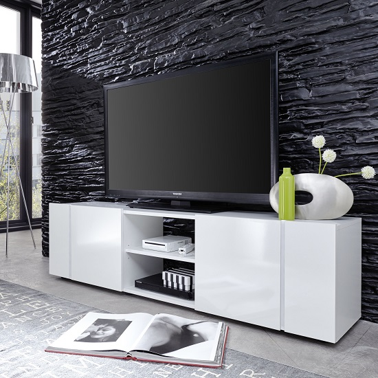 Florus LCD TV Stand In White With Gloss Fronts And LED_5