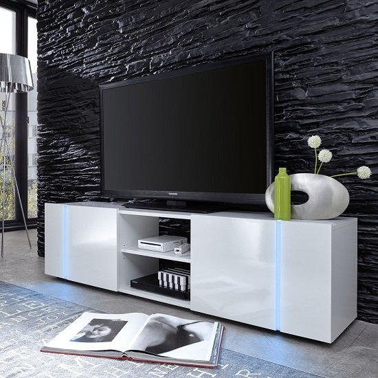 Florus LCD TV Stand In White With Gloss Fronts And LED_1
