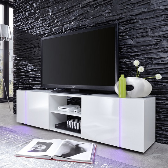 Florus LCD TV Stand In White With Gloss Fronts And LED_4