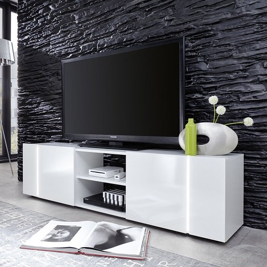Florus LCD TV Stand In White High Gloss Fronts With LED