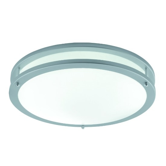 Flourescent Twin Tube Flush Light In Grey