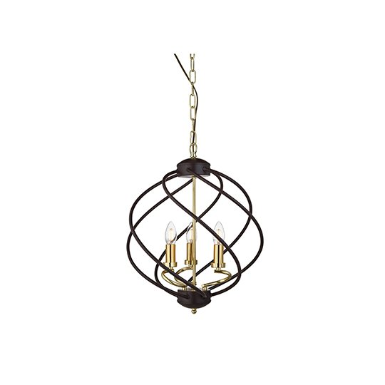 Flow 3 Lights Pendant Ceiling Light In Black And Gold