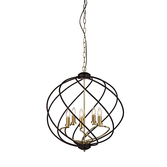Flow 5 Lights Pendant Celing Light In Black And Gold