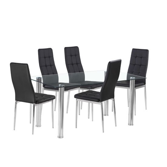 Flow Rectangular Glass Dining Table With 6 Cosmo Black Chairs