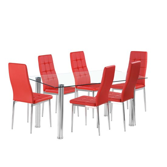 Flow Rectangular Glass Dining Table With 6 Cosmo Red Chairs