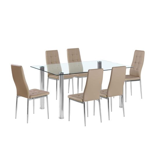 Flow Rectangular Glass Dining Table With 6 Cosmo Taupe Chairs
