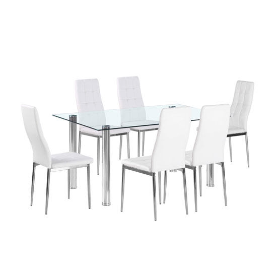 Flow Rectangular Glass Dining Table With 6 Cosmo White Chairs