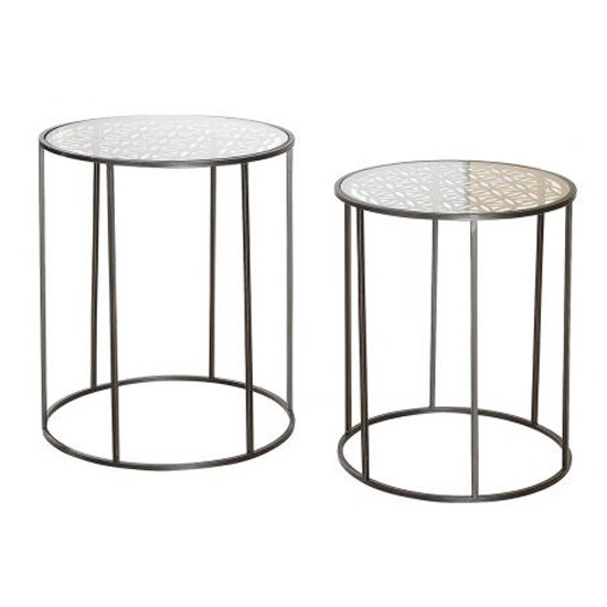 View Flower of life glass top set of 2 side table with metal frame