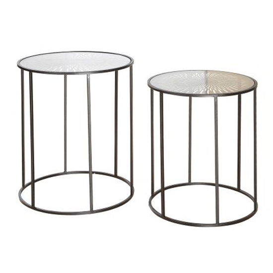 View Flower of sun glass top set of 2 side tables with metal frame