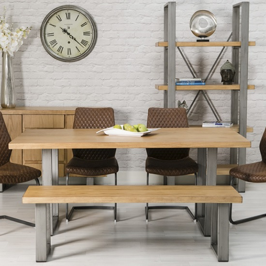 Floyd Wooden Dining Table Rectangular In Oak With Metal Legs