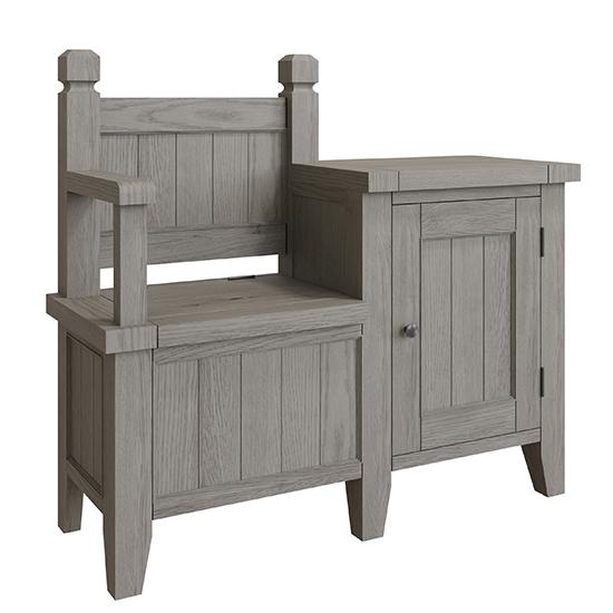 View Floyd wooden hallway seating bench in grey oak