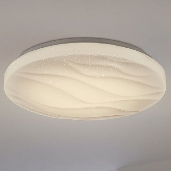 Flush LED Round White Plastic Ceiling Light With Clear Speckles