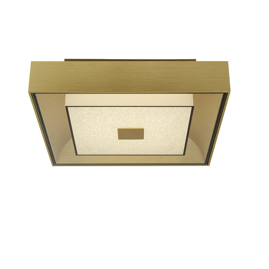 Flush LED Square Ceiling Light In Brushed Gold With Crystal Sand_2