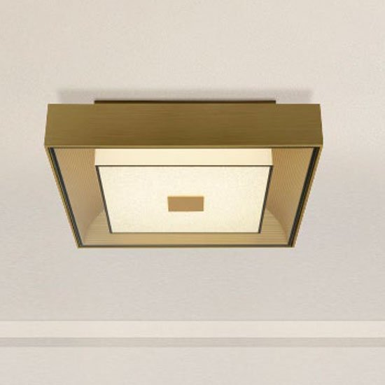 Flush LED Square Ceiling Light In Brushed Gold With Crystal Sand